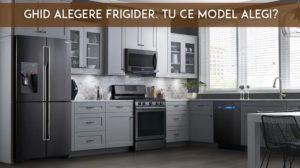 bucătărie mobilată într-un stil modern, cu un frigider de top